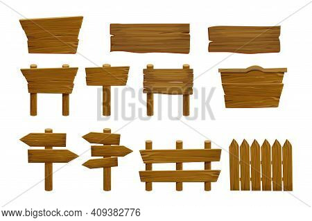 Set Wooden Elements Fence, Plywood Planks, Banner, Empty Signboard Textured In Cartoon Style Isolate