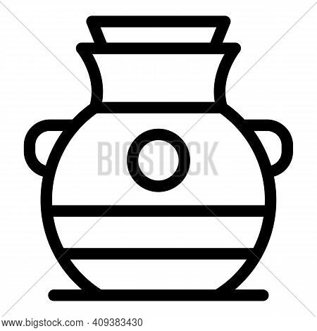 Egyptian Amphora Icon. Outline Egyptian Amphora Vector Icon For Web Design Isolated On White Backgro