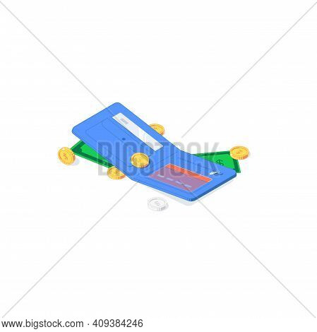 Isometric Golden And Silver Coins, Green Banknotes On Blue Wallet. Vector Illustration Of Gold And S