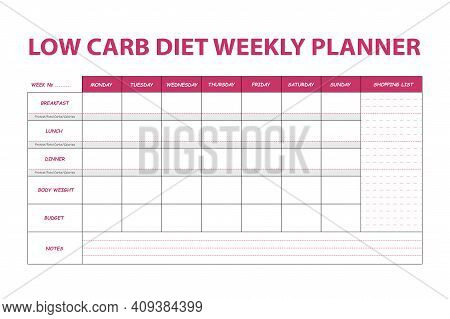 Pink Diet Weekly Planner Isolated On White Background. Food Menu Plan For Diet. Daily Schedule Templ