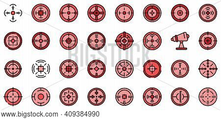 Telescopic Sight Icons Set. Outline Set Of Telescopic Sight Vector Icons Thin Line Color Flat On Whi