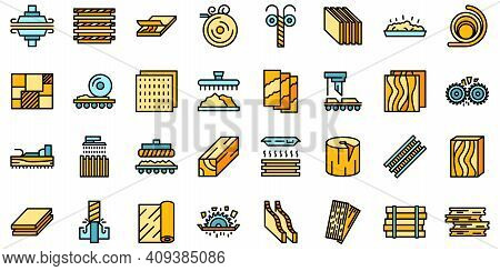 Plywood Icons Set. Outline Set Of Plywood Vector Icons Thin Line Color Flat On White