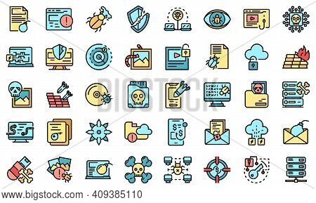 Malware Icons Set. Outline Set Of Malware Vector Icons Thin Line Color Flat On White