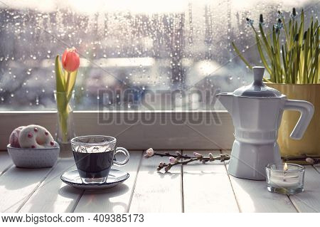 Oriental Coffee In Traditional Turkish Copper Coffee Pot With Flowers On Window Sill. Wooden Windows
