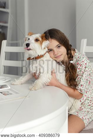 1 White Teenage Girl 10 Years Old Sits At The Kitchen Table And Hugs Dog Jack Russell's White Furred