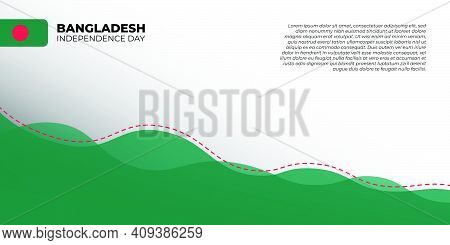 Bangladesh Independence Day. Green And White Abstract Background With Red Dotted Line Design. Good T
