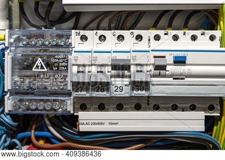 Single Phase Fuses In Off And On Position And Residual Current Protection In On Position. Many Gray