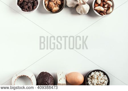 Set Of Foods That Are Rich In Calcium On A White Background. Food Is A Source Of Calcium, Magnesium,