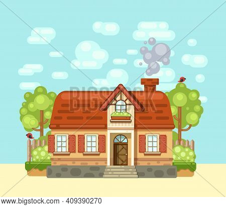 Cozy House In The Village. Village House Drawn In Flat Cartoon Style. Vector Illustration