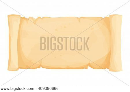 Parchment Paper, Scroll Papyrus, Empty Frame, Blank In Cartoon Style Detailed Isolated On White Back
