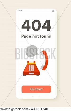 Orange Landline Telephone With Receiver And Speech Bubble. Telephone Communication, Telecommunicatio
