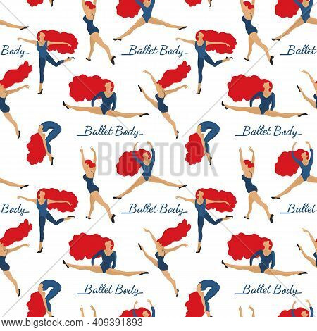Girl Dancing Hand Drawn Seamless Vector Pattern. Dance Ballet Body Studio Design Element. Fitness Cl