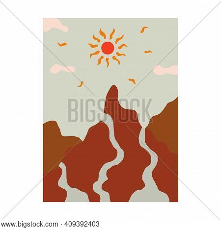 Beautiful Minimalist Mountain Landscape With River And Sun. Streams Flow Down The Mountains. Sun Ray