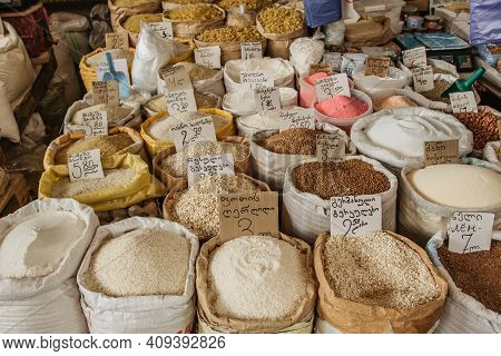 Tbilisi,georgia-july 6,2019.various Food Ingredients And Products With Georgian Sign And Prices In L