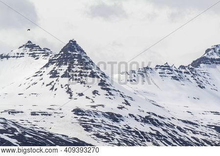 Snowy Mountain Summits At Thjodvegur Road