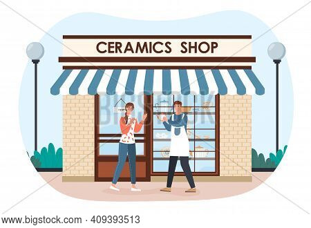 Male Ceramics Shop Owner Showing Ceramic Pot To Customer Outside. Happy Seller And Customer. Man Sel