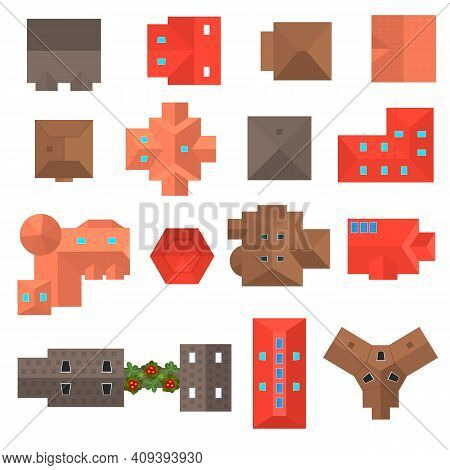 Cartoon Color Building Roof Top View Icon Set Flat Design Style. Vector Illustration Of Rooftops Ico