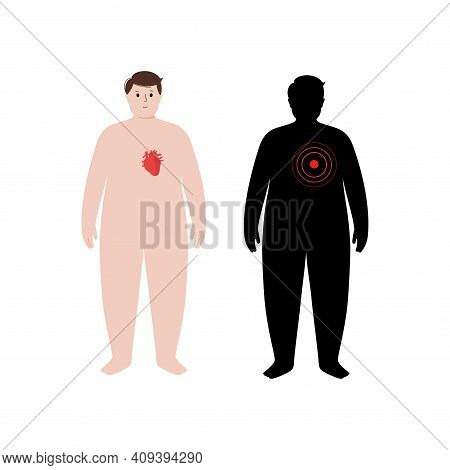 Pain, Inflammation In Heart. Adult Obese Man Anatomy Poster. Ache In Overweight Male Human Body. Int