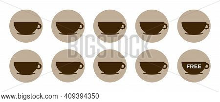 Coffee Loyalty Card Template. Buy 9 Cups And Get 1 For Free. Take Away Coffee Cups Icons For Cafe. I