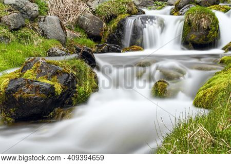 Small Waterfall At Seydisfjordur Town