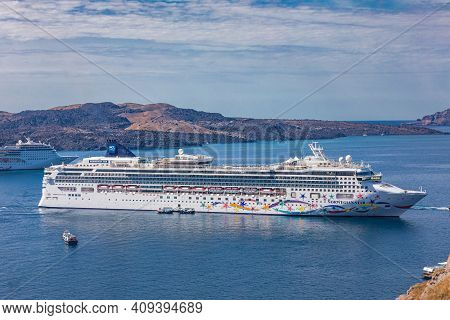 Santorini, Greece - 10.october.2019: Norwegian Star Is A Cruise Ship Owned And Operated By Norwegian
