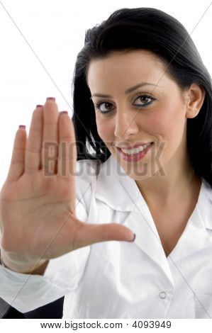 Front View Of Doctor Asking To Stop On White Background