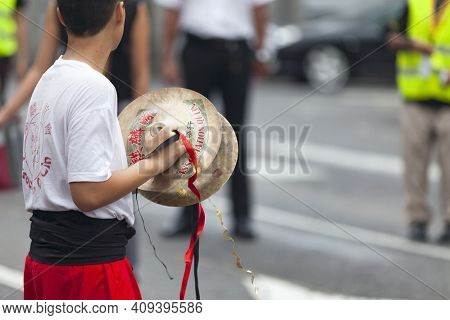 Saint Denis, Reunion Island - August 07 2015: Musician Playing With A Pair Of Cymbals During The Gua