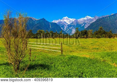 On the way to Lake Matheson. Mount Cook and Mount Tasman.  Exotic journey to the ends of the earth. New Zealand, South Island. The most picturesque nature in the world.