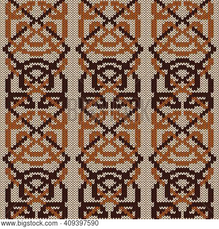 Geometrical Ornate Seamless Knitted Vector Pattern As A Fabric Texture In Beige, Orange And Brown Co