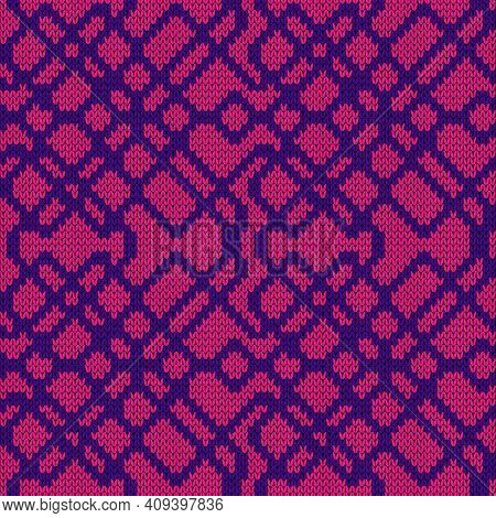 Seamless Knitted Ornate Vector Pattern In Violet And Pink Colors As A Fabric Texture