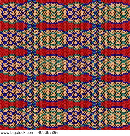 Ornate Knitting Seamless Vector Pattern In Red, Orange, Turquoise And Blue Colors As A Fabric Textur