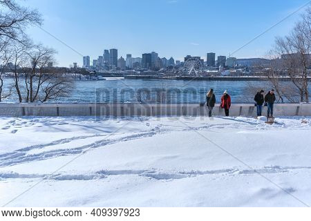 Montreal, Ca - 22 February 2021: Montreal Skyline In Winter From Jean Drapeau Park