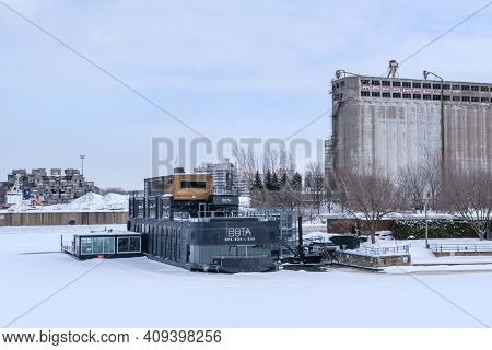 Montreal, Ca - 22 February 2021: Bota Bota Floating Spa In The Old Port Of Montreal