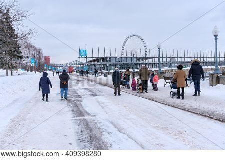 Montreal, Ca - 22 February 2021: People Walking At Old Port Of Montreal