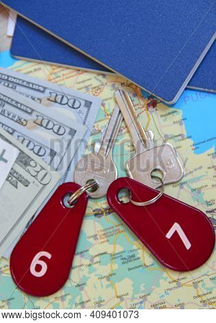 Passports And Room Keys. Travel Concept. Things Collected For Travel. Personal Items For Holidays. M