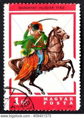 Hungary - Circa 1978: Hungarian Postage Stamp With Rider On Horseback. Hungarian Post. Hungarian Pos