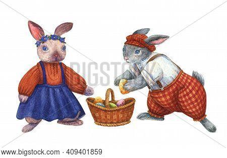 Bunny Illustration. Boy Girl Rabbits In Clothes. Watercolor Cute Animal