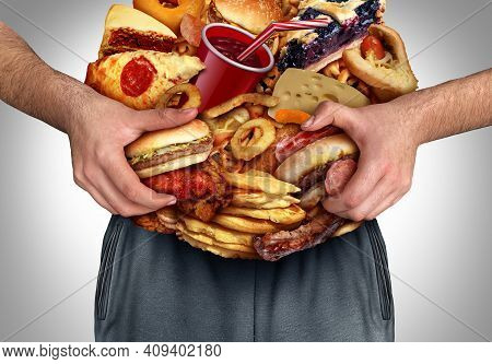 Obesity And Nutrition Or Unhealthy Diet As A Front View Of A Fat Overweight Person With The Stomach