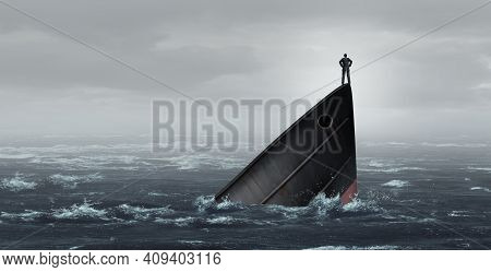 Sinking Ship Metaphor And Failing Business Despair Concept As A Stranded Businessman Lost At Sea As