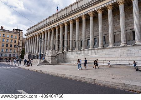 Lyon, France - Sep 28, 2020: Historic Neoclassical Courthouse Cour De Appeal Built In 1840s With 24