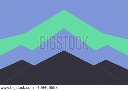 Blue Sky. Green, Blue And Black Mountains Silhouette. Coniferous Forest. Fir Trees. Graphic Design.