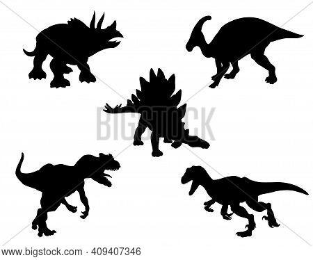 Set Of Black Silhouettes Of Dinosaurs Isolated On White. Stegosaurus, Alosaurus, Raptor, Triceratops