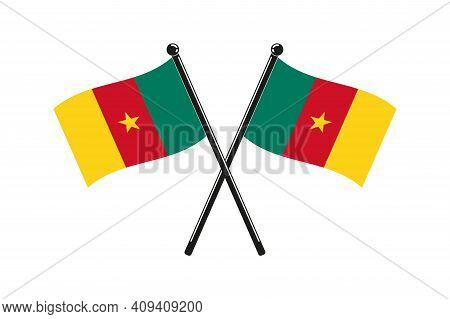 National Flags Of  Cameroon Crossed On The Sticks In The Original Colours And Proportions