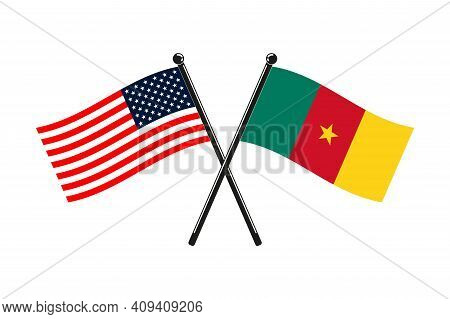National Flags Of Cameroon And Usa Crossed On The Sticks In The Original Colours