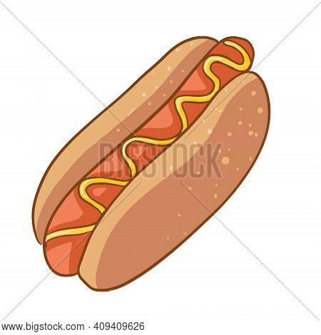 Vector Hotdog With Mustard. Cartoon Style. Fast Food Hotdog For Poster, Menu.