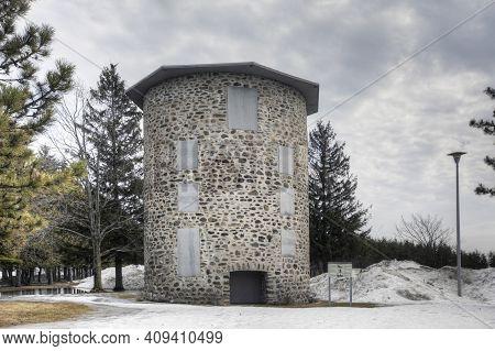 Quebec, Canada- March 14: Moulin De La Commune De Trois-rivières, A Stone Windmill From Quebec, Cana