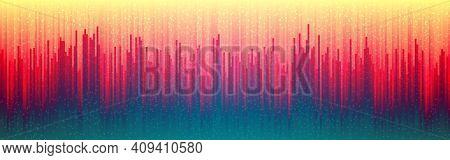Glitch Digital Background. Retro Future Distortion. Abstract Vertical Lines. Cyber Futuristic Design
