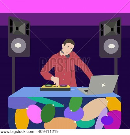 Guy Deejay Mixing Music For Internet Translation Or Streaming Of Radio Live