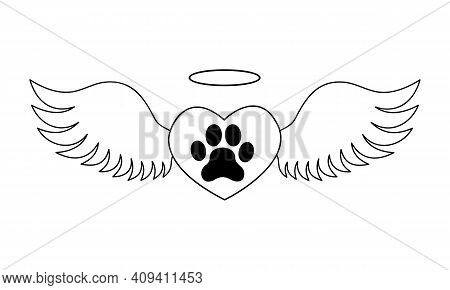 Heart With Dogs Paw Inside With Angel Wings And Halo. Pet Death Memorial Concept. Graphic Design For