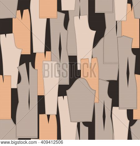 Tailor Seamless Pattern With Templates Of Dress, Skirt And Trousers. Fashion.